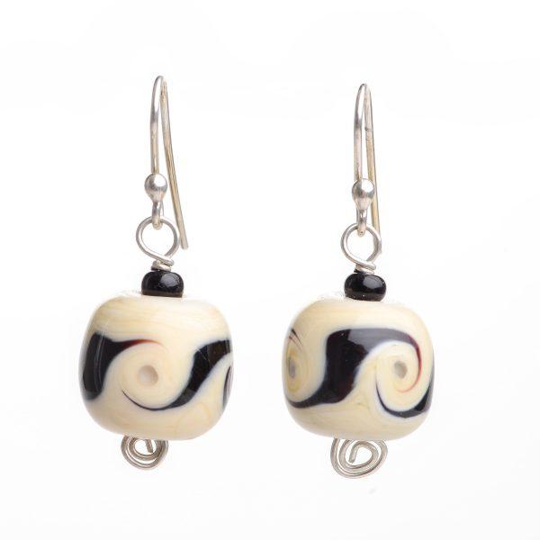 handmade glass earrings with black and white glass swirl