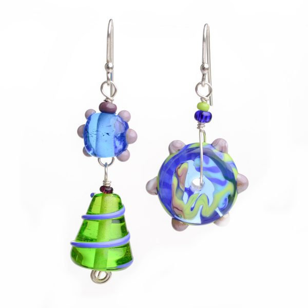 asymmetrical blue and green glass handmade earrings, funky glass jewelry