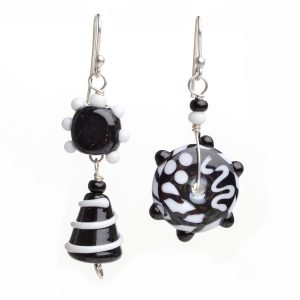 black and white asymmetrical glass earrings, handmade funky jewelry, asheville glass artist