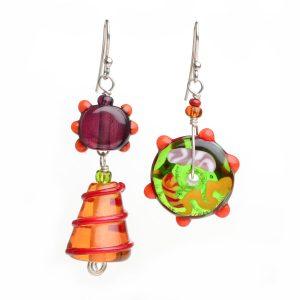 asymmetrical glass earrings, glass bead jewelry, asheville glass artist, Christmas jewelery
