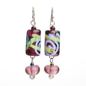 purple lamp-worked handmade earrings, long fancy glass earrings, asheville glass blowing