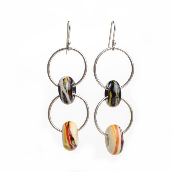 double bead earrings, silver yellow and balck glass bead earrings