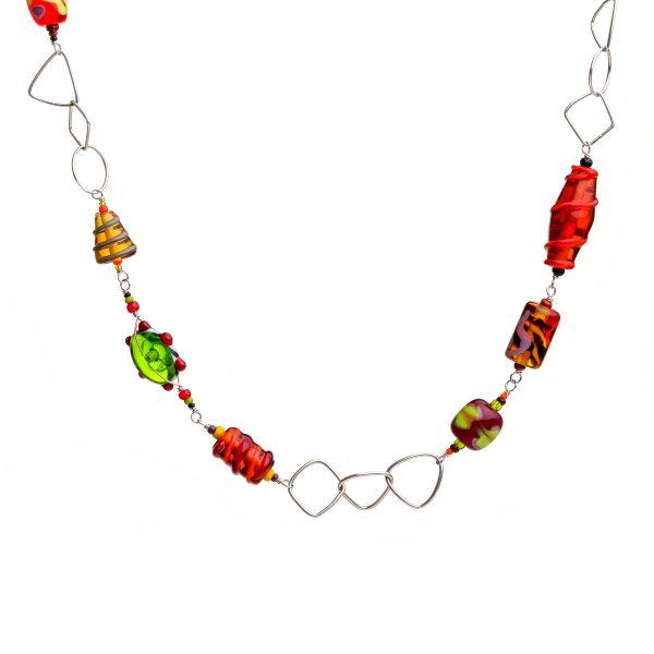 long glass bead necklace, red orange yellow glass jewelry, georgia glass artist, glass blowing