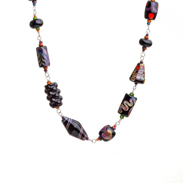 black and purple glass bead necklace, handmade glass bead jewelry, georgia glass artist, female glass artist, heavy jewelry