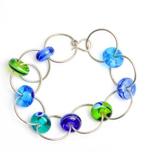 lampworked jewelry, handmade glass beads on silver loops bracelet, georgia glass artist