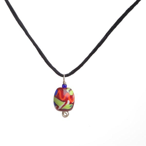 red green and orange handmade glass bead, lamp worked glass bead