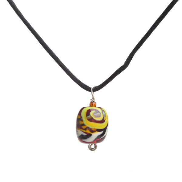 red yellow black and white handmade glass bead, georgia glass artist