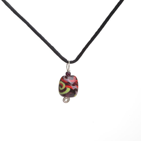 purple red and green handmade glass bead