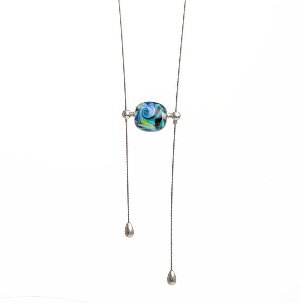blue glass bead lariat necklace