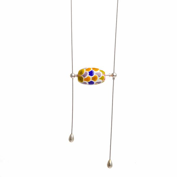 fish scale glass bead lariat necklace, handmade glass bead jewelry