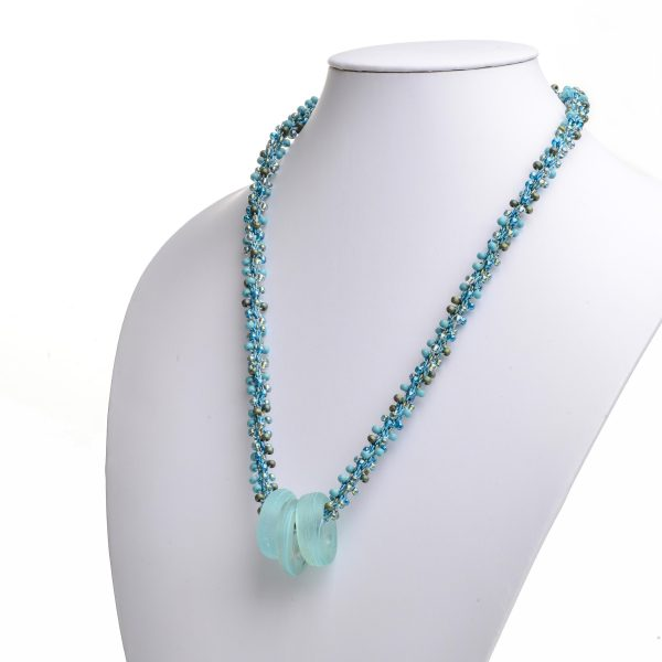 long turquoise handmade necklace with light blue circle beads, mature necklace, handmade glass beads