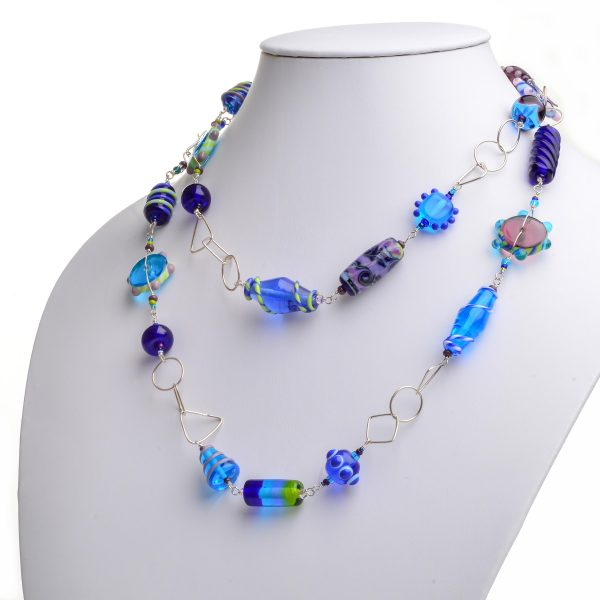 blue handmade glass bead jewelry, extra long necklace, handmade glass beads