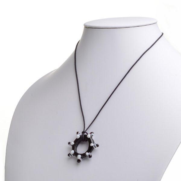 glass black wheel bead necklace