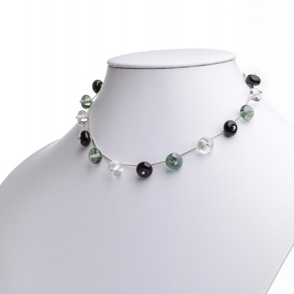handmade glass bead necklace, blue clear and black bead necklace,