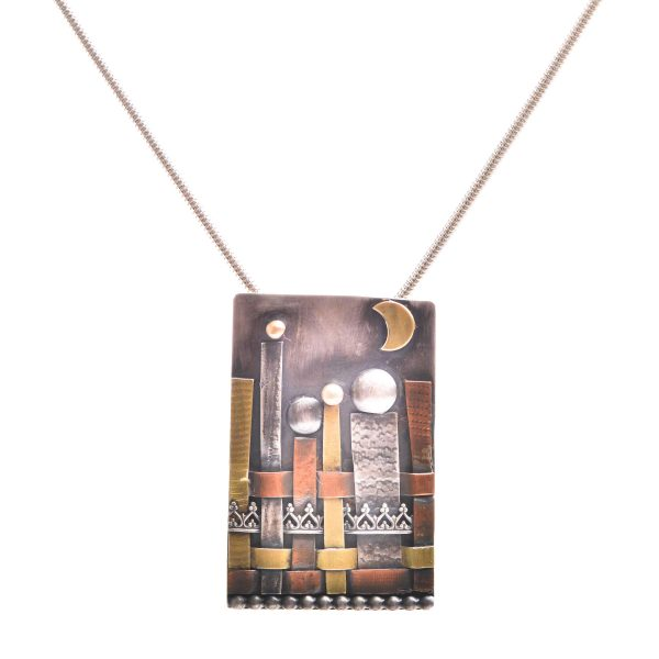 Woven mixed metal rectangle necklace with city scene and metal findings on silver chain, tarnished, oxidized silver jewelry