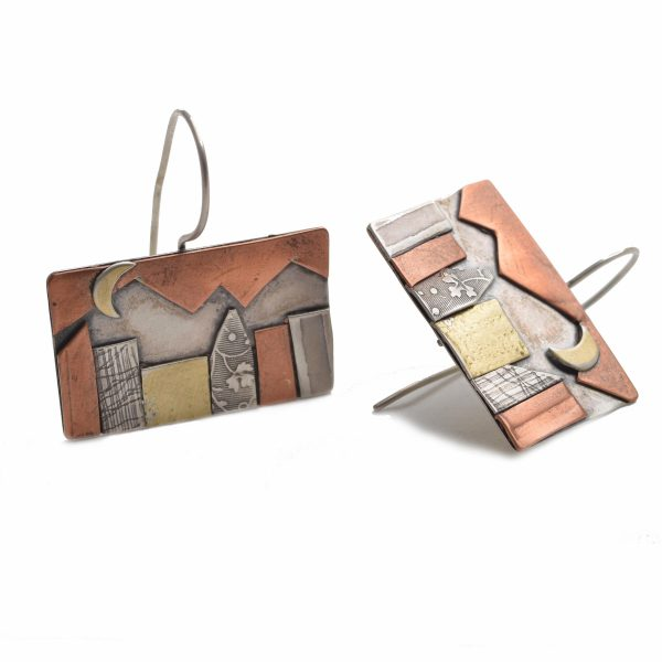 rectangle handmade mixed metal earrings with city and mountain landscape on an earwire