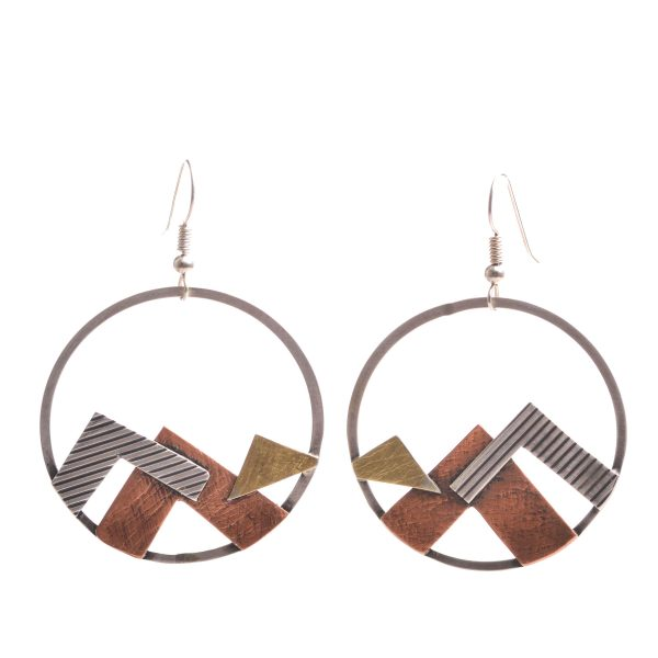 handmade mountain landscape earrings with silver and gold, open circle mountain earrings