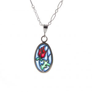 handmade stained glass rose necklace, sterling silver and pique a jour blue green and red necklace, enamel