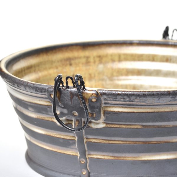 wheel thrown low bucket with metal handles, nc clay gallery, clay exhibition sue grier