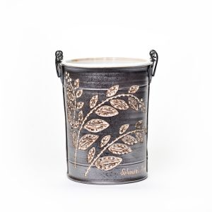 wheel thrown handmade ceramic clay bucket by Sue Grier with Solomon's Plume Basket drawing of leaves, black porcelain with white glaze