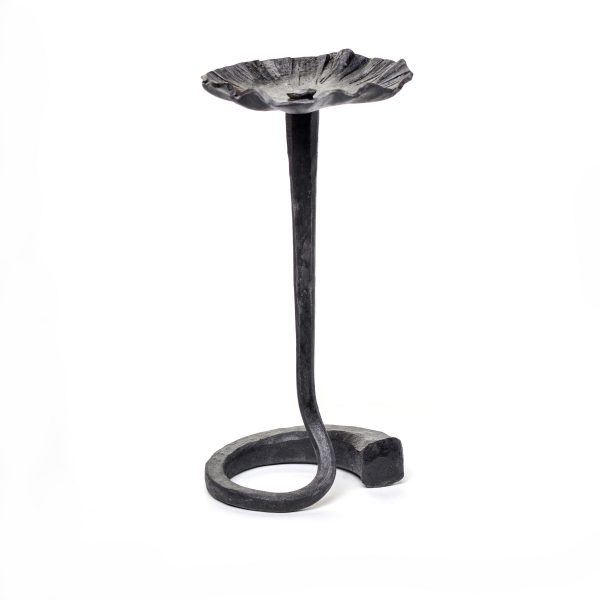 small steel forged flower sculpture with flower on spiral vine, nc metal artist, metal craft, Susan Hutchinson metal artist