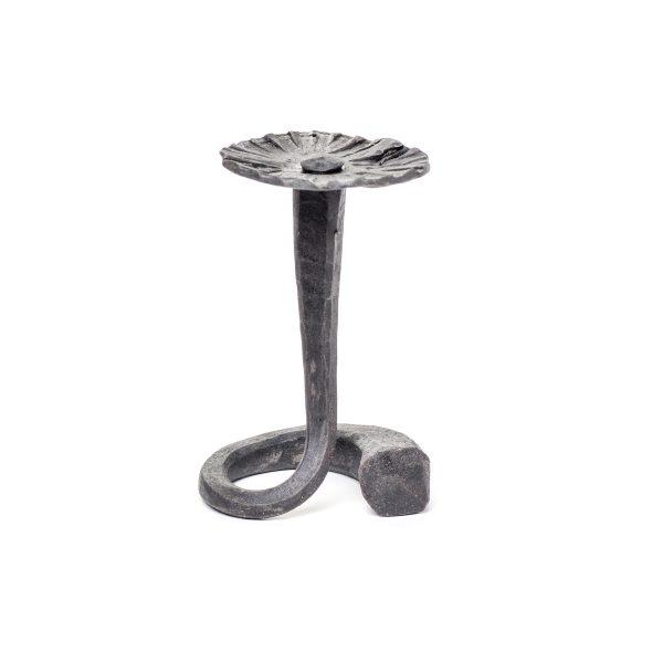 small steel forged flower sculpture with flower on spiral vine, nc metal artist, metal craft,