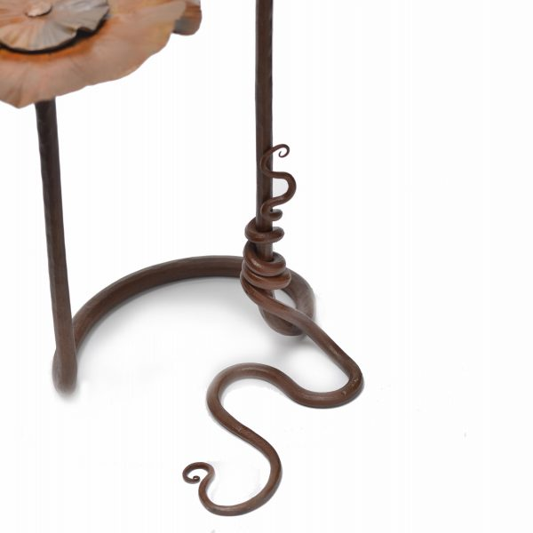 detail of vine on base of handmade steel flower sculpture by metal artist susan hutchinson, nc metal artist