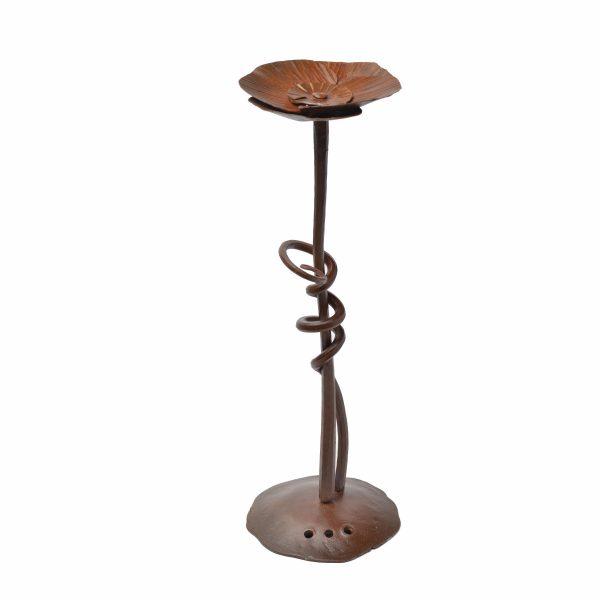 medium size handmade rusty steel flower stand, rusty steel flower with stem with vines around it