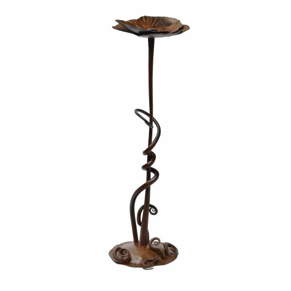 handmade steel flower stand on a long stem with spiraling roots along the base, nc metal sculpture