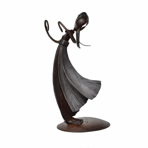 rear view of hand forged steel sculpture of female figure with vine arms and petal dress