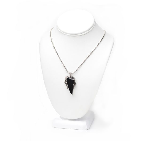 handmade black onyx spike necklace with cast setting on bust