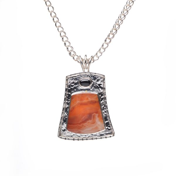 handmade handwoven silver chain with textured silver pendant with red stone carnelian with black onyx oval stone by Joseph Rhodes