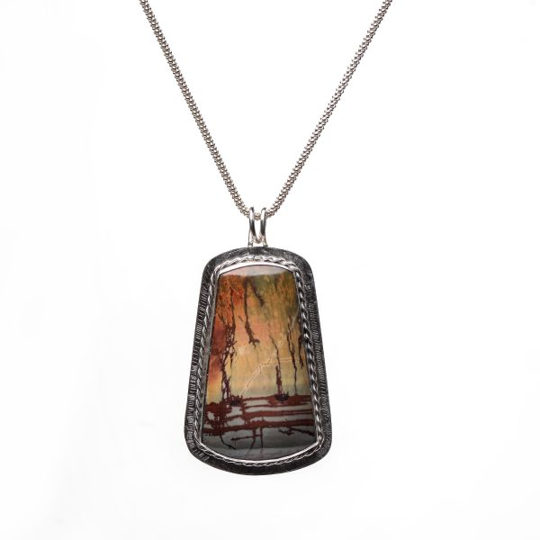 red creek jasper stone in silver necklace pendant with twisted silver wire with patina