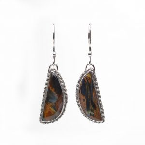 half moon pietersite half moon earrings with twisted silver wire borders