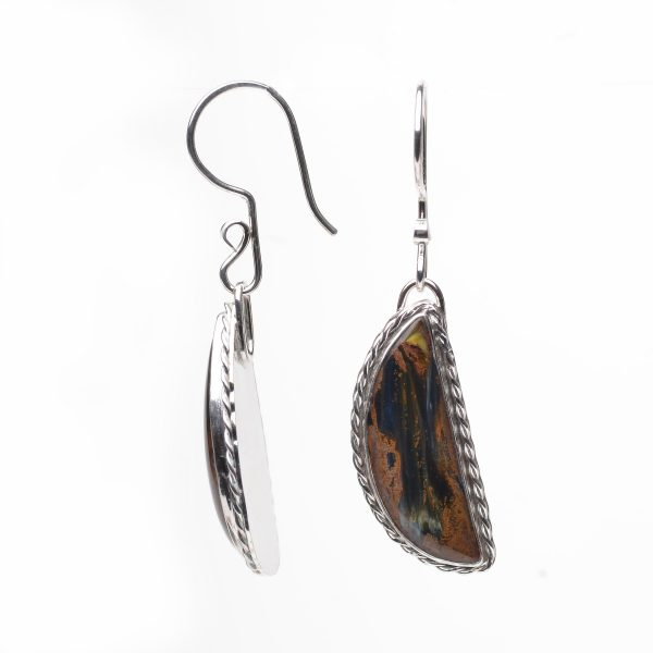 half moon pietersite stone earrings with twisted silver wire on ear wires, brown and black stones