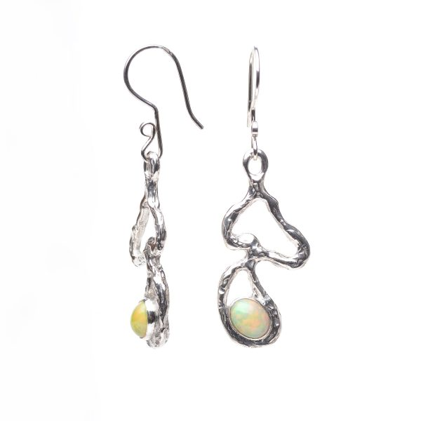long wiggly cast textured silver dangle long earrings with fiery opal cabochon oval stone