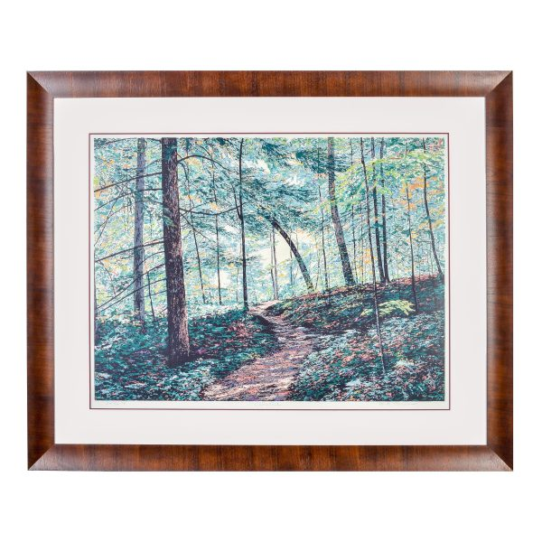 framed mountain trail scene print, mountain scene print serigraph, green brown and yellow forrest print, mountain home wall art