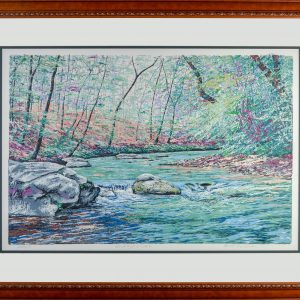 framed and matted mountain creek print, mountain stream serigraph with blues and greens