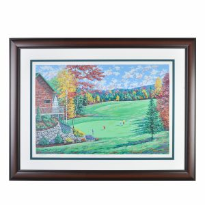 golf print, gold course wall art, framed print of golf course mountain fall scene