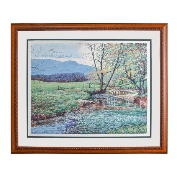 mountain farm fall scene print, mountain home serigraph