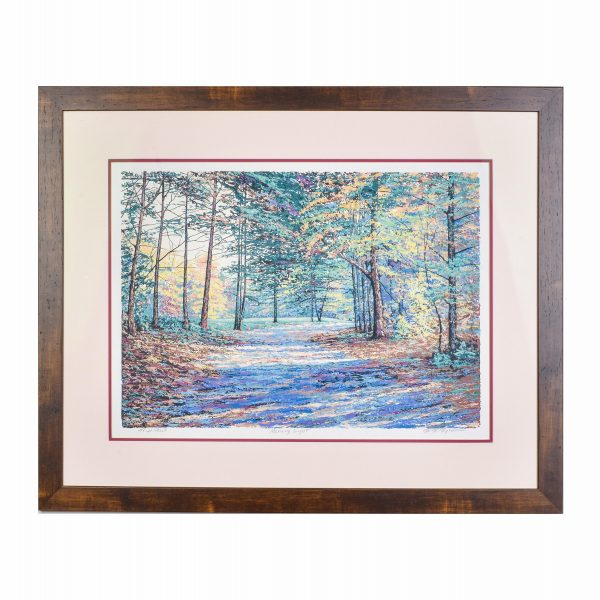 mountain hiking trail fall scene, autumn serigraph print with blues browns and greens