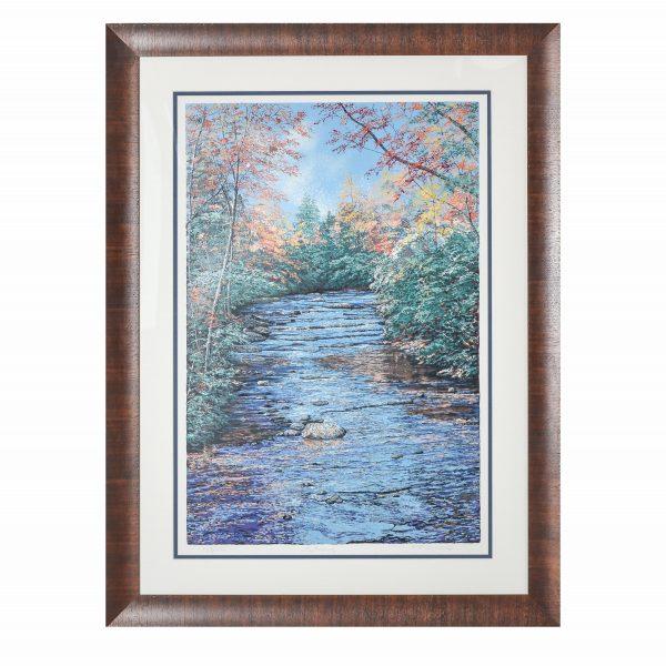 mountain creek stream print, serigraph, ray byram, framed mountain print