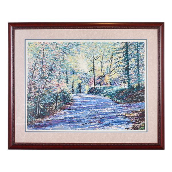 fall twilight serigraph of mountain trail scene. wooden fram with blues and greens