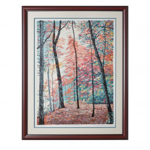 framed serigraph of fall nature scene, nc craft print art