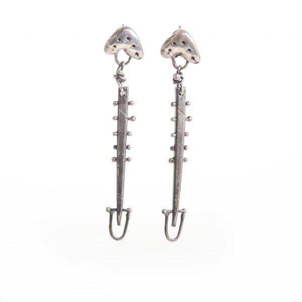 sale silver jewelry, steampunk jewelry, long silver handcrafted earrings