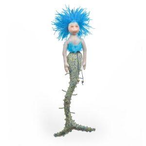 handmade mermaid doll to hang on wall, asheville fiber artist, blue mermaid,