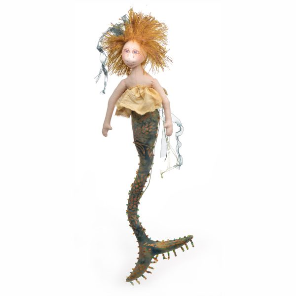 mermaid with batiqu fabric and yellow hair, mermaid doll for the wall, handmade mermaid doll, mermaid room decor, fantasy decor, whimsical craft