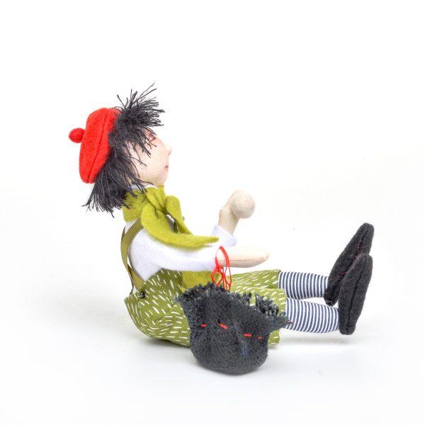 sitting boy elf doll, handmade holiday doll, snowball elf, wnc dollmaker, nc fiber artist