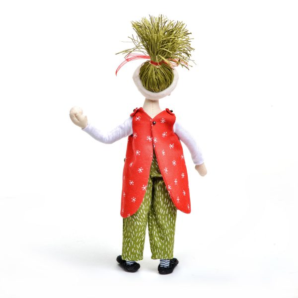 back of handmade elf doll throwing a snowball in jumper, nc fiber artist, nc doll maker, doll making teacher campbell folk school, nc fiber artist