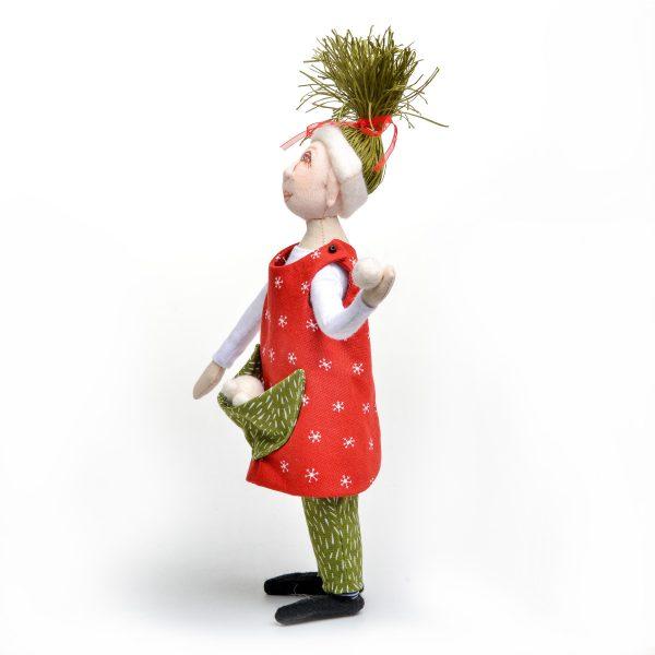 handmade elf doll throwing a snowball in jumper, nc fiber artist, nc doll maker, doll making teacher campbell folk school, nc fiber artist